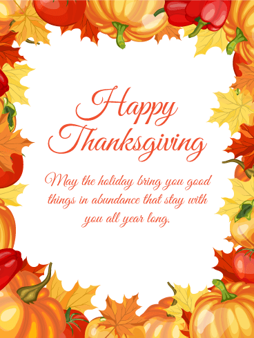 Thanksgiving Greetings for family