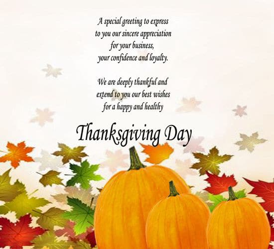 thanksgiving greetings for business
